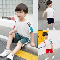 儿童装男童套装夏装短袖t恤中大童夏季休闲短裤两件套装