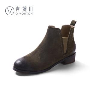 青婉田2018新款舒适真皮切尔西短靴女休闲百搭及踝靴女春短筒靴