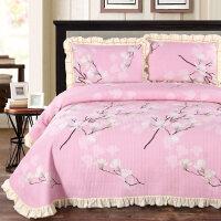 韩版花边纯棉床盖三件套 绗缝被夹棉双人床单炕单欧式床罩铺盖 床盖三件套230cmx250cm