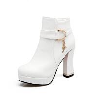 2018新款女靴子短筒靴裸靴甜美高跟鞋秋冬季女鞋粗跟马丁靴女短靴真皮