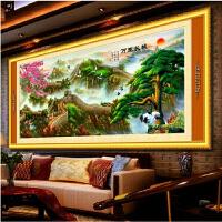 手工十字绣成品迎客松万里长城富贵绵延山水画风景客厅大幅挂画 【成品】 240*90cm