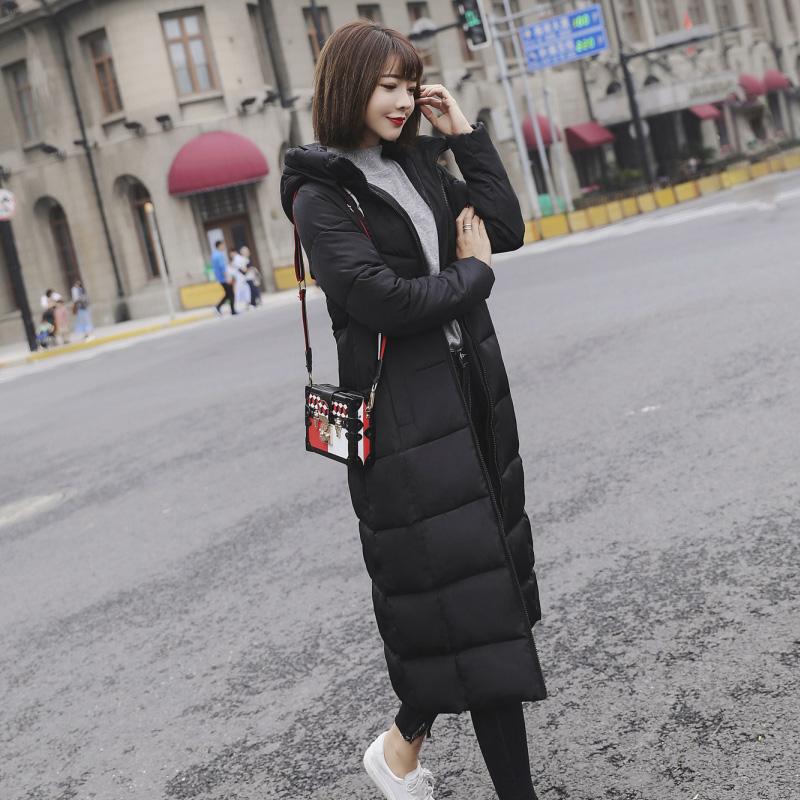 新款冬装韩版棉衣女中长款加厚修身过膝防寒连帽羽绒大码外套