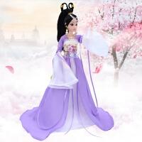 克时帝芭比中国古装换装洋娃娃套装大礼盒民族古代仙女公主衣服饰 紫罗兰 紫薇公主 12关节娃娃+8大礼品