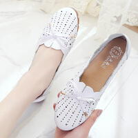 妈妈鞋 女士平底牛筋软底洞洞鞋2020秋季新款韩版时尚女士休闲百搭舒适透气单鞋女鞋子