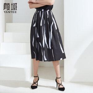 颜域女装2018夏装新款个性条纹半身裙中长款蓬蓬裙宽松百褶A字裙
