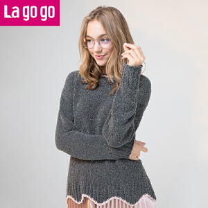 【秒杀价89】Lagogo/拉谷谷2019年冬季新款时尚浪漫圆领长袖针织衫