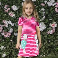 欧美2018夏装新款女童条纹短袖连衣裙儿童卡通裙子 公主裙 娃娃裙