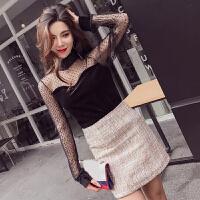 春新款韩版时尚套装女透视网纱拼接丝绒上衣+高腰短裙两件套