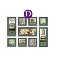 美式装饰画客厅沙发背景墙欧式田园乡村餐厅墙画卧室壁画组合挂画 135X100CM(大组合) 30mm厚板 一套9