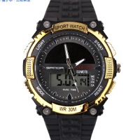 三达表正品手表低碳环保太阳能多功能户外运动防水双显示男女手表