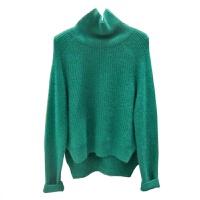 韩国2018秋冬新款女开叉高领纯色套头毛衣针织衫打底毛衣