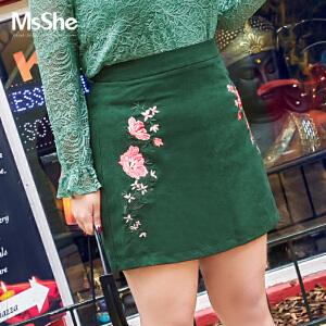 MSSHE加肥加大码女装2017新款秋装胖mm灯芯绒刺绣半身裙M1740219