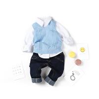 全织时代童装男童v领马甲小童宝宝蓝色针织背心儿童春装2018新款