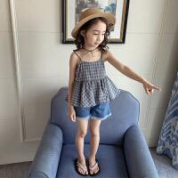 女童吊带背心夏季小女孩露背格子童装儿童夏装新款无袖吊带