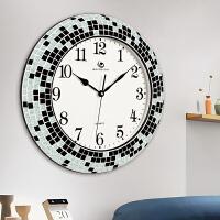 现代简约静音挂钟 欧式大气石英钟表 美式客厅创意时钟 18英寸(直径45.5厘米)
