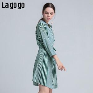 【清仓3折价137.7】Lagogo/拉谷谷2019年夏季新款时尚V领文艺女条纹连衣裙HALL324F44