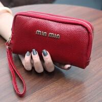 新款真皮软女手包女钱包长款双拉链手拿包多功能零钱包牛皮手机包 枣红色 真皮