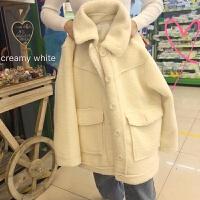 呢子大衣外套上衣女装2018秋冬新款韩版宽松口袋翻领加厚棉衣外套女 米白色 均码