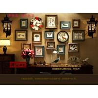 实木美式照片墙装饰复古欧式相框墙创意组合背景挂墙客厅卧室悬挂
