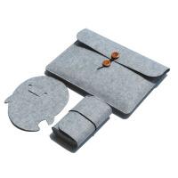 华硕苹果笔记本电脑包4寸Mac air/2/3/5.6寸毛毡内胆包 浅灰色 浅灰纽扣款