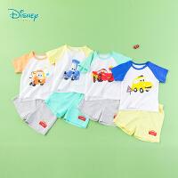 迪士尼Disney童装 男童短袖套装夏季新品酷炫小汽车印花T恤五分裤两件套192T902