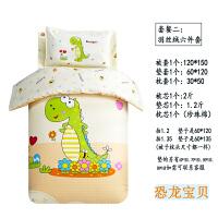 儿童被褥秋冬两用纯棉幼儿园被子三件套午睡棉被褥宝宝全棉儿童床上用品六件套含芯 绿咖 恐龙