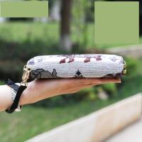 2017新刺绣花民族风棉麻长款钱包卡包手机包双层女士手挽提手拿包