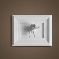 家居生活用品饰品美式风格墙上装饰创意写实动物3D百兽狮子雕刻相框