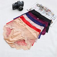 Y40-45 大码新款气质性感纯色绣花刺绣中腰女式简约内裤平角裤