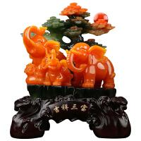 大象摆件三连象吉祥三宝装饰摆设客厅装饰品工艺品礼物