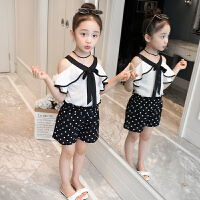女童夏装新款韩版童装短袖露肩上衣短裤套装中大童儿童两件套