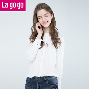 Lagogo/拉谷谷2017年冬季新款娃娃领长袖衬衫