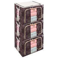 66升3件套衣服整理箱牛津布钢架衣柜储物盒爱locklove乐扣收纳箱 66升三件套