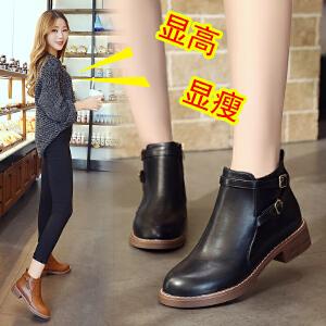 女式 秋季新款百搭时尚皮带交叉装饰粗跟平底女靴