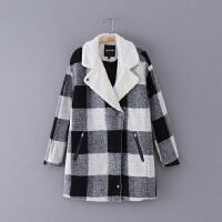020 冬季新款黑白格子加厚毛内胆长袖女毛呢外套大衣