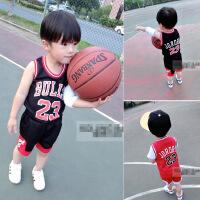 夏季新款男女童运动装童套装篮球服卡通字母背心+短裤B-B