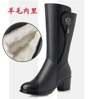 2018冬季新款真皮女靴粗跟棉靴子大码加绒中跟女士棉鞋羊毛中筒靴SN0317