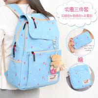 小清新日韩版双肩包帆布书包 女小学生高初中生校园背包 旅行包女包