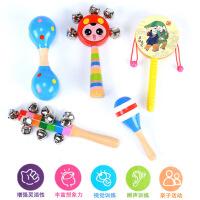?木制婴儿玩具套装手摇铃木质拨浪鼓哑铃七彩串铃沙锤宝宝早教玩具