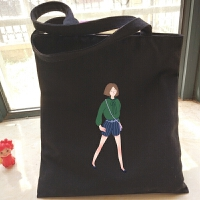 简约棉帆布单肩手提女包森系日韩版文艺学生大书包环保购物袋