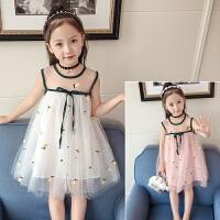 儿童连衣裙新款夏女童宝宝蓬蓬纱菠萝韩版无袖网纱时尚公主裙