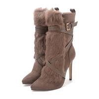 2018冬季新款女短靴兔毛马丁靴性感尖头高跟鞋女鞋细跟短靴女靴子真皮 卡其