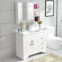 卫浴简约现代橡木浴室柜组合洗手脸盆面池卫生间实木洗漱台落地式4bh
