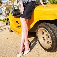 高腰半身裙女 香影2018春装新款时尚气质修身显瘦单排扣直筒裙潮