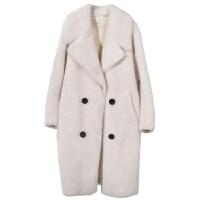 高端大气机车大衣欧洲站廓形修身潮2018新款颗粒羊剪绒大衣女中长款chic羊羔毛皮草廓形皮毛一体外套 XS 90斤左右