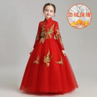 儿童婚纱女童公主裙婚礼花童礼服长袖蓬蓬纱主持人演出服红色秋冬