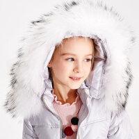 【2件2.5折叠券约:121.2,12日0点】米喜迪mecity童装90%白鸭绒冬装中长款女童冬装毛领羽绒服