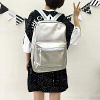 复古新款少女背包双肩包学生包亮色书包纯色百搭休闲包潮旅行