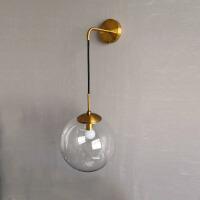 北欧创意圆球玻璃壁灯个性过道灯现代简约卧室床头壁灯阳台墙灯 古铜色直径25厘米 LED光源
