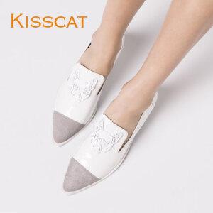 接吻猫 2016秋新款时尚女鞋胎牛毛皮拼接深口单鞋女DA76517-54